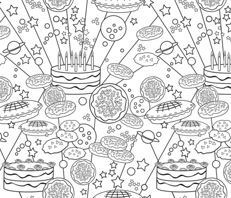 Baked Goodies Coloring Book fabric by vinpauld on Spoonflower - custom fabric
