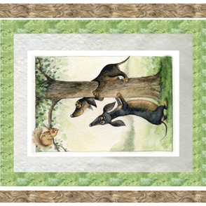 Dachshunds & Squirrel Blanket Panel Izmaylova