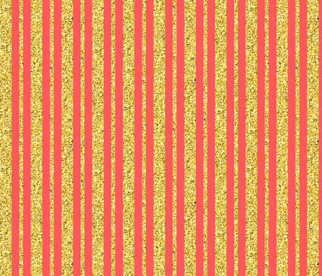 CD47 - Gold Sparkle Stripes on Coral fabric by maryyx on Spoonflower - custom fabric