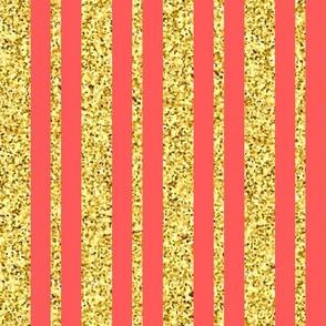 CD47 - Gold Sparkle Stripes on Coral