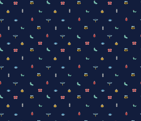 Little Crawlers on Blue (Small) fabric by shelbyallison on Spoonflower - custom fabric