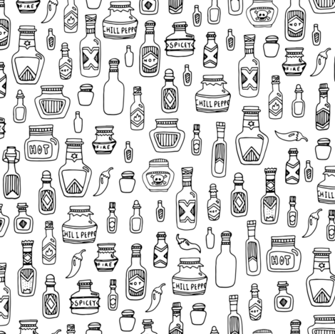 Hot Sauce - Hand-Drawn fabric by clairekalinadesigns on Spoonflower - custom fabric