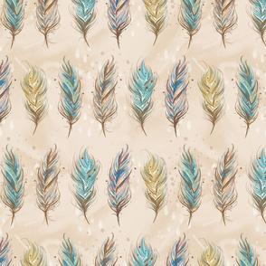 Boho Feathers Tan