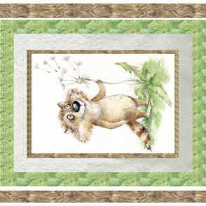 Cute raccoon blanket panel Dandelion Izmaylova,unisex