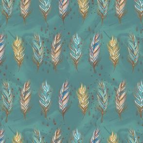 Boho Feathers Blue