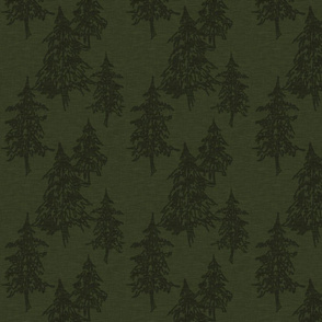 Evergreen Trees on Linen - Dark Hunter green