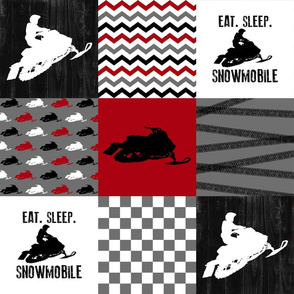 Eat Sleep Snowmobile//Red - Wholecloth Cheater Quilt