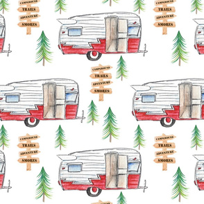 Red Watercolor Campers - Large Scale
