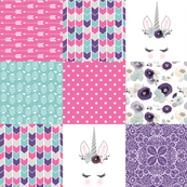 Be A Unicorn//Pink//Purple//Turquoise - Wholecloth Cheater Quilt