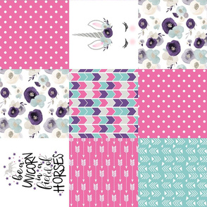 Be A Unicorn//Pink//Purple//Turquoise - Wholecloth Cheater Quilt - Rotated