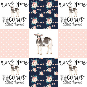 Farm//Love you till the cows come home//Vintage Floral - Wholecloth Cheater Quilt