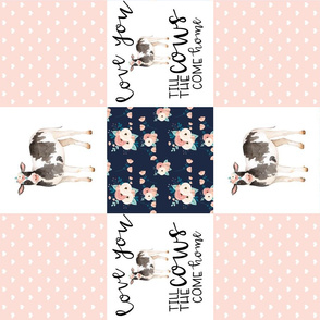 Custom - Love you till the cows come home - wholecloth cheater quilt - Rotated