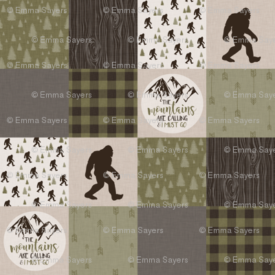 Big Foot//The Mountains are calling - Wholecloth Cheater Quilt