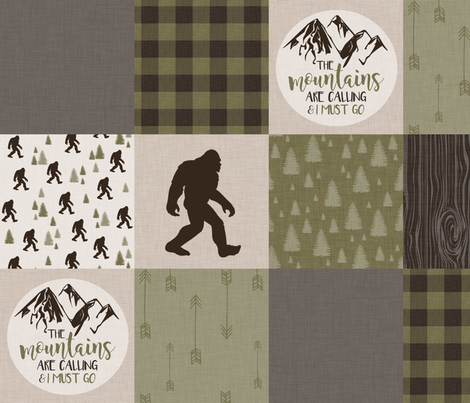Big Foot//The Mountains are calling - Wholecloth Cheater Quilt fabric by longdogcustomdesigns on Spoonflower - custom fabric