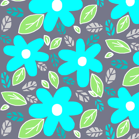 Modern Garden/ Retro Style  Blooms  fabric by franbail on Spoonflower - custom fabric
