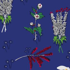 Peaceful flowers dark blue