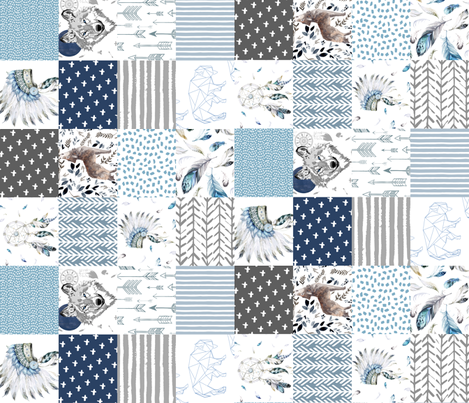 """21"""" Boys Boho Cheater Quilt Wholecloth 90 degrees fabric by shopcabin on Spoonflower - custom fabric"""