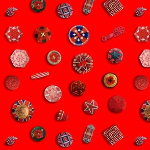 Buttons! Red Passementerie