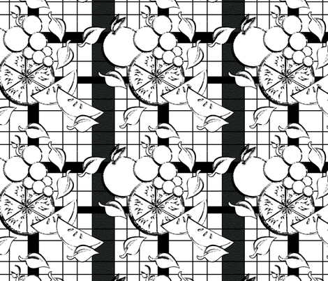 Gingham Picnic Black & White fabric by veritas_design on Spoonflower - custom fabric