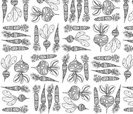 Root vegetables, black and white fabric by kancerina on Spoonflower - custom fabric