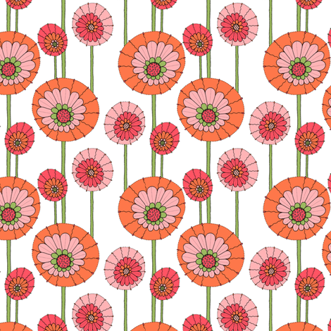 posy pops orange on white fabric by crookedlittlestudio on Spoonflower - custom fabric