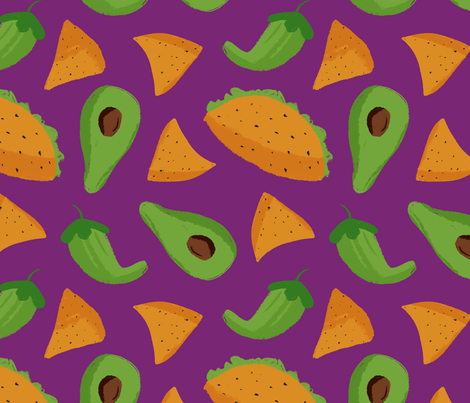 Food Fiesta fabric by allhaildesign on Spoonflower - custom fabric