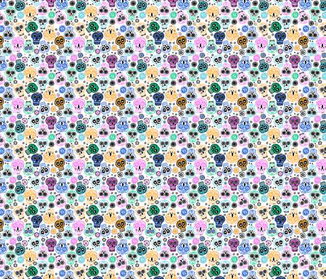 sugar skulls 3 small fabric by laura_may_designs on Spoonflower - custom fabric