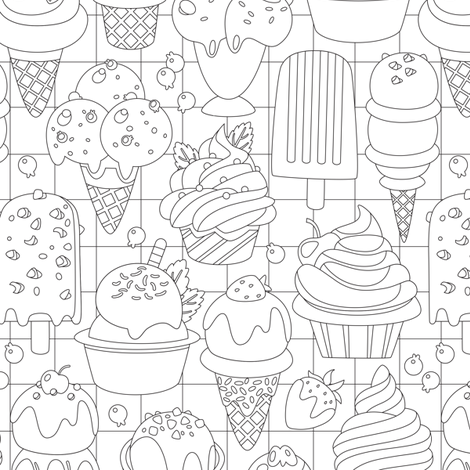 Ice Cream Frenzy fabric by malibu_creative on Spoonflower - custom fabric