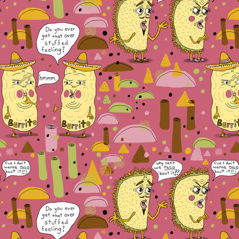 I'll take two tacos and two burritos please, mauve pink rose plum fabric by amy_g on Spoonflower - custom fabric