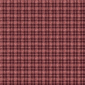 CD27 - Tiny Shimmery Peach  and  Burgundy Tartan Plaid