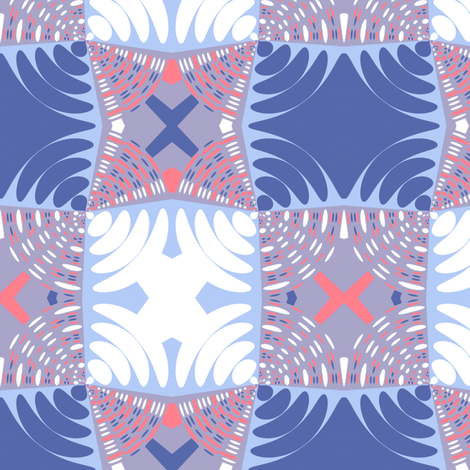 Circle Gets the Square in Sky and Blueberry fabric by eclectic_house on Spoonflower - custom fabric