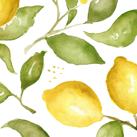 Lemon Blossoms fabric by laurapol on Spoonflower - custom fabric