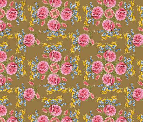 Antique Gold Victorian Flowers fabric by krystalsavage on Spoonflower - custom fabric