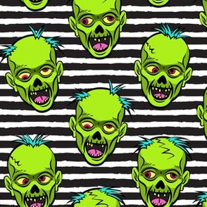 zombies - green on black stripes - halloween
