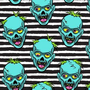 zombies - teal on black stripes - halloween
