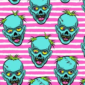 zombies -teal on pink stripes - halloween