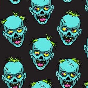 zombies - teal on black - halloween