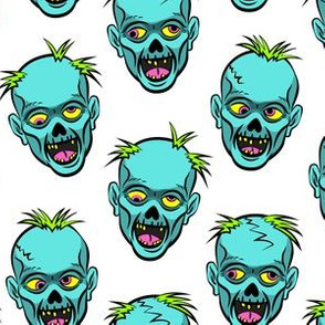 zombies - teal on white - halloween