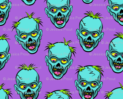 zombies - teal on purple - halloween