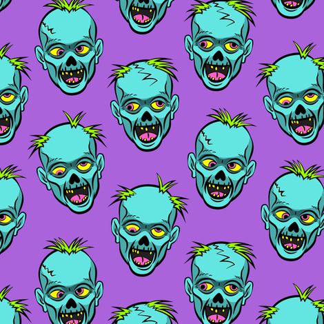 zombies - teal on purple - halloween  fabric by littlearrowdesign on Spoonflower - custom fabric