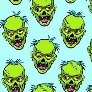 zombies - green on blue - halloween
