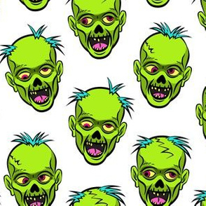zombies - green on white - halloween
