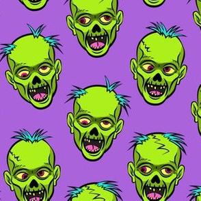 zombies - green on purple - halloween