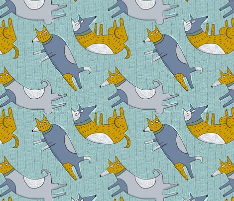 blue green dog fabric by kimmurton on Spoonflower - custom fabric
