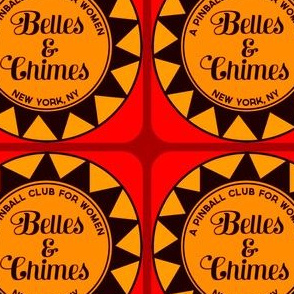 Belles & Chimes NY Logo Retro 70s Orange Red