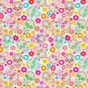 Colorful Sugar Skulls on White