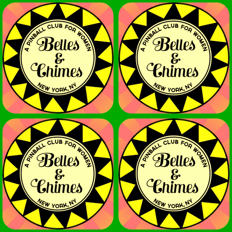 Belles Chimes NY Pop Bumper Square Yellow Pink Green fabric by crunchtastic on Spoonflower - custom fabric