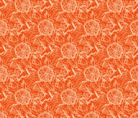 Peony orange fabric by littlebitartsy on Spoonflower - custom fabric