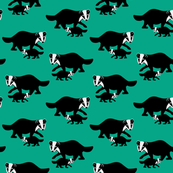 badger, dachs, dachshund, animals, animal, mint, jade, emerald, greenwhite, black, melange, forest, woodland, home decor, woodlife, 2 color,