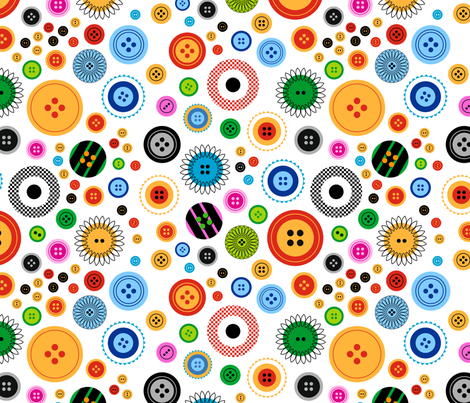 Buttons! on white fabric by pinkdeer on Spoonflower - custom fabric
